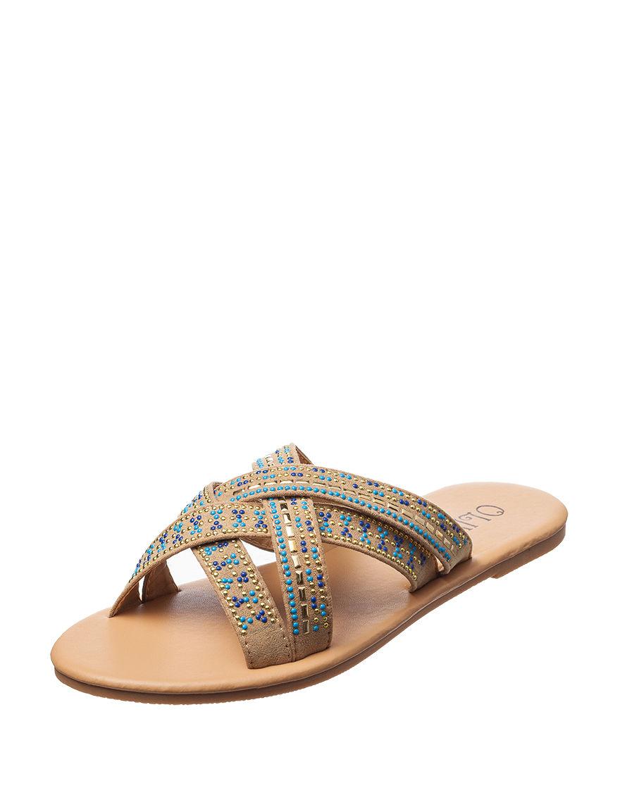 Olivia Miller Tan Multi Flat Sandals