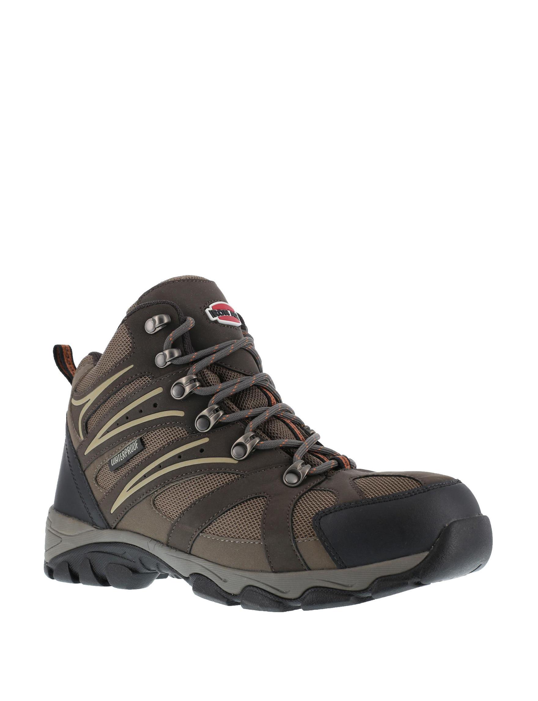 Iron Age Brown Hiking Boots Slip Resistant Steel Toe Waterproof