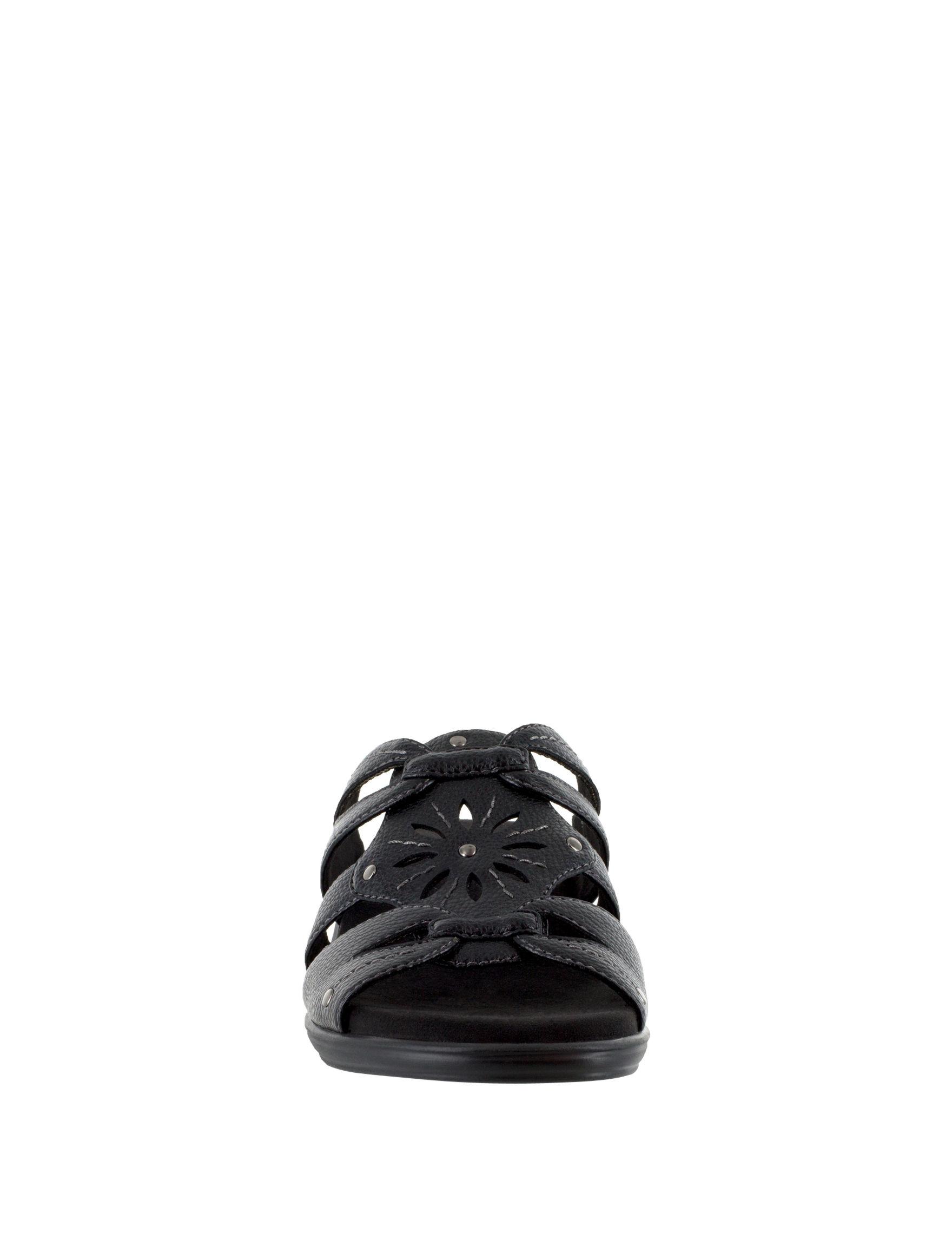 Easy Street Black Wedge Sandals
