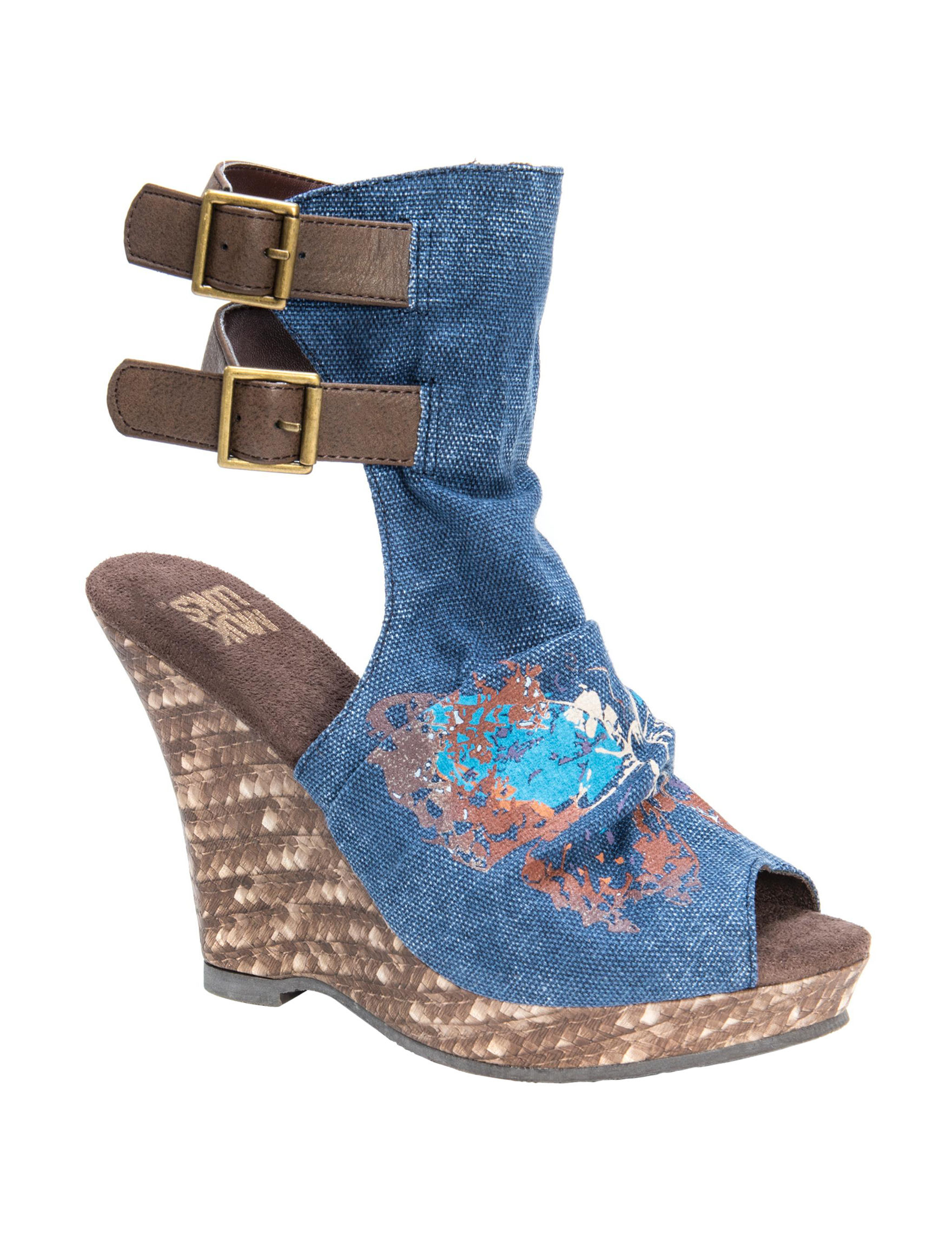 Muk Luks Denim Blue Peep Toe Platform Wedge Sandals