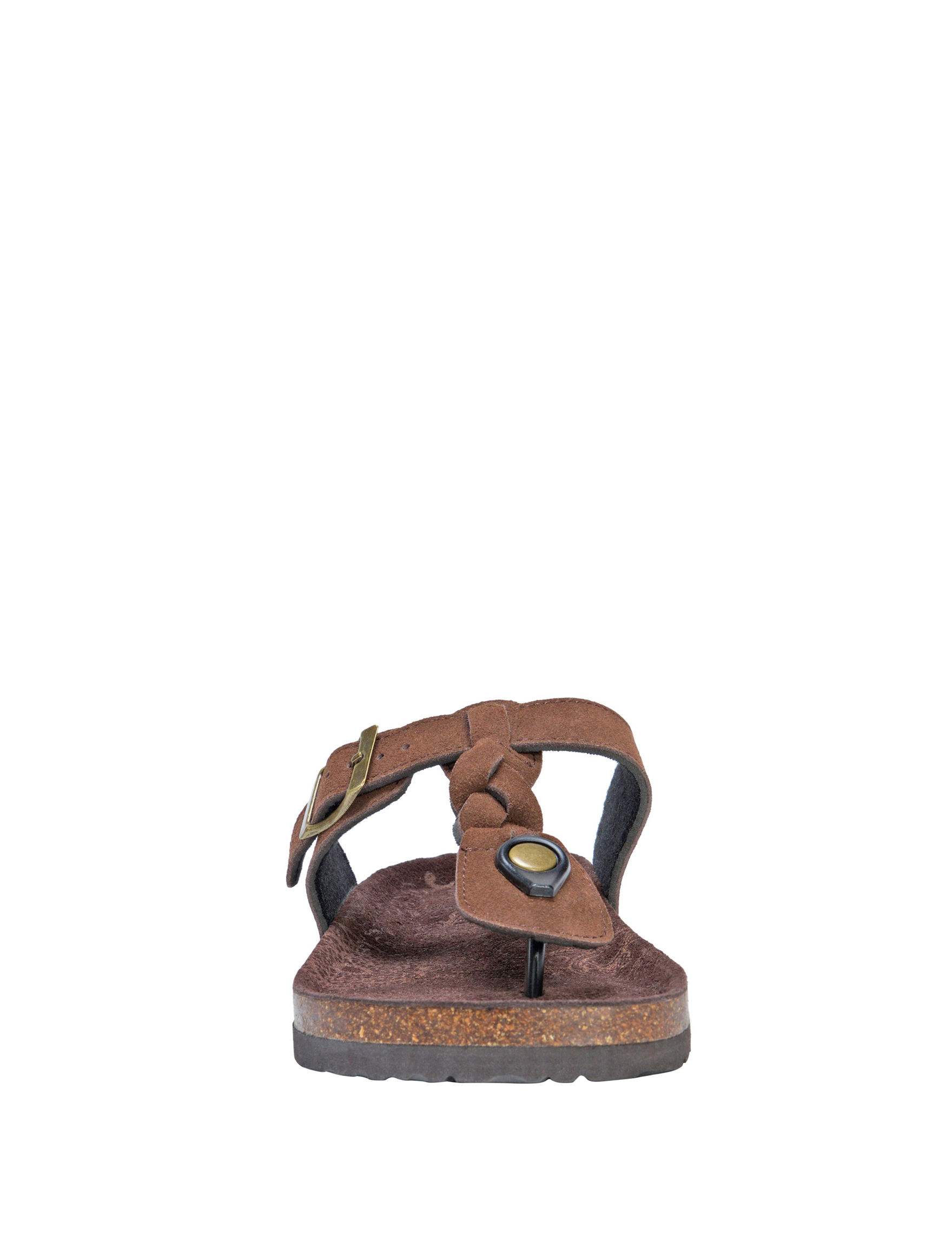 Muk Luks Brown Flat Sandals Slide Sandals
