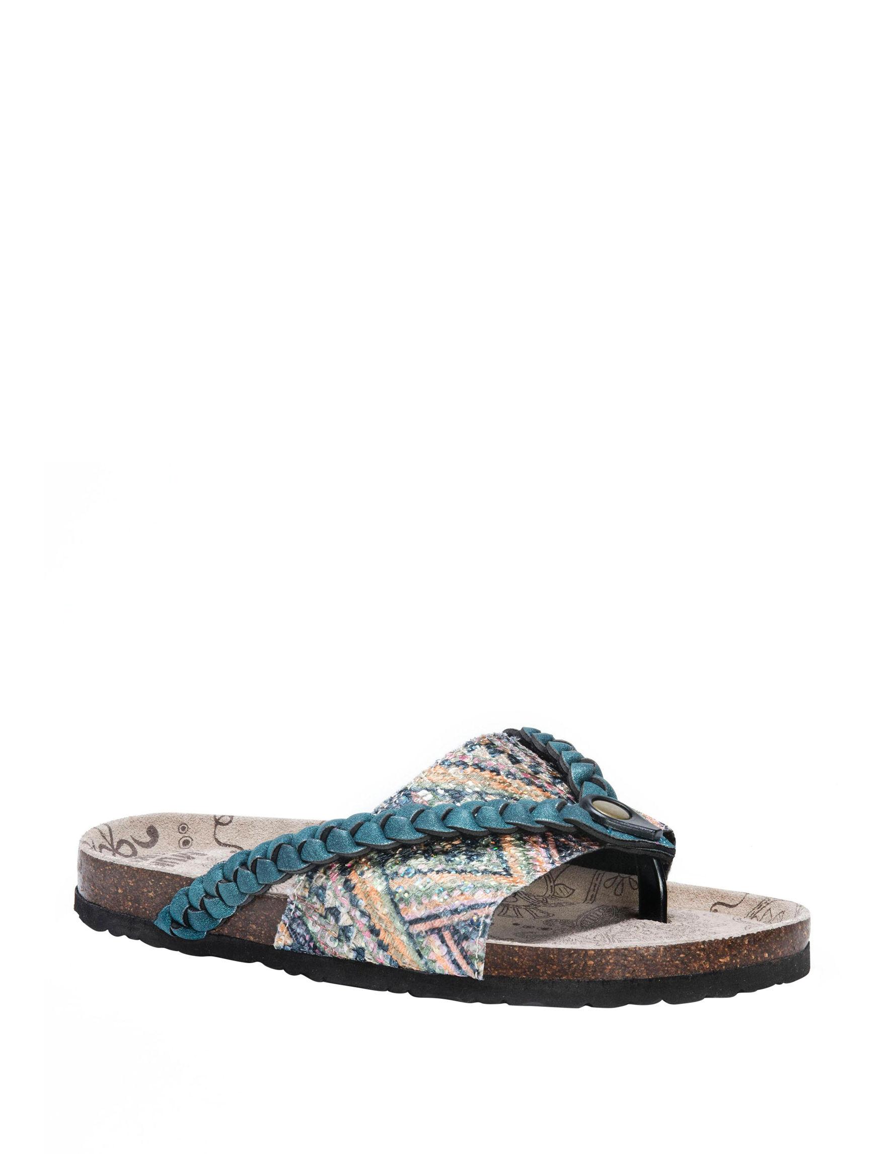 Muk Luks Teal Flat Sandals Flip Flops