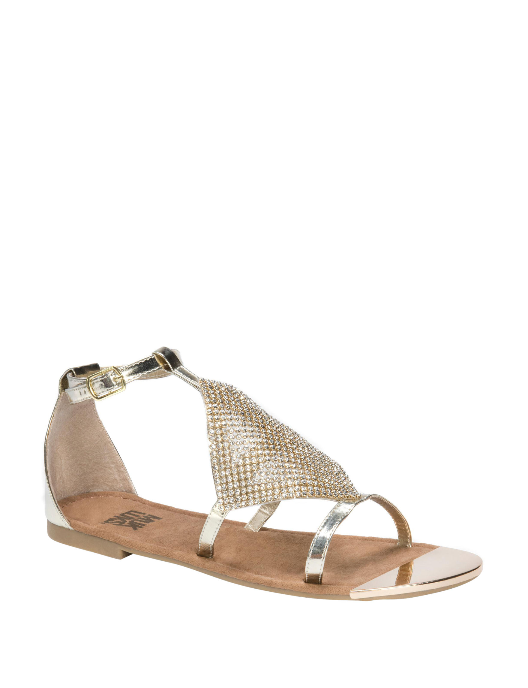 Muk Luks Gold Flat Sandals Gladiators