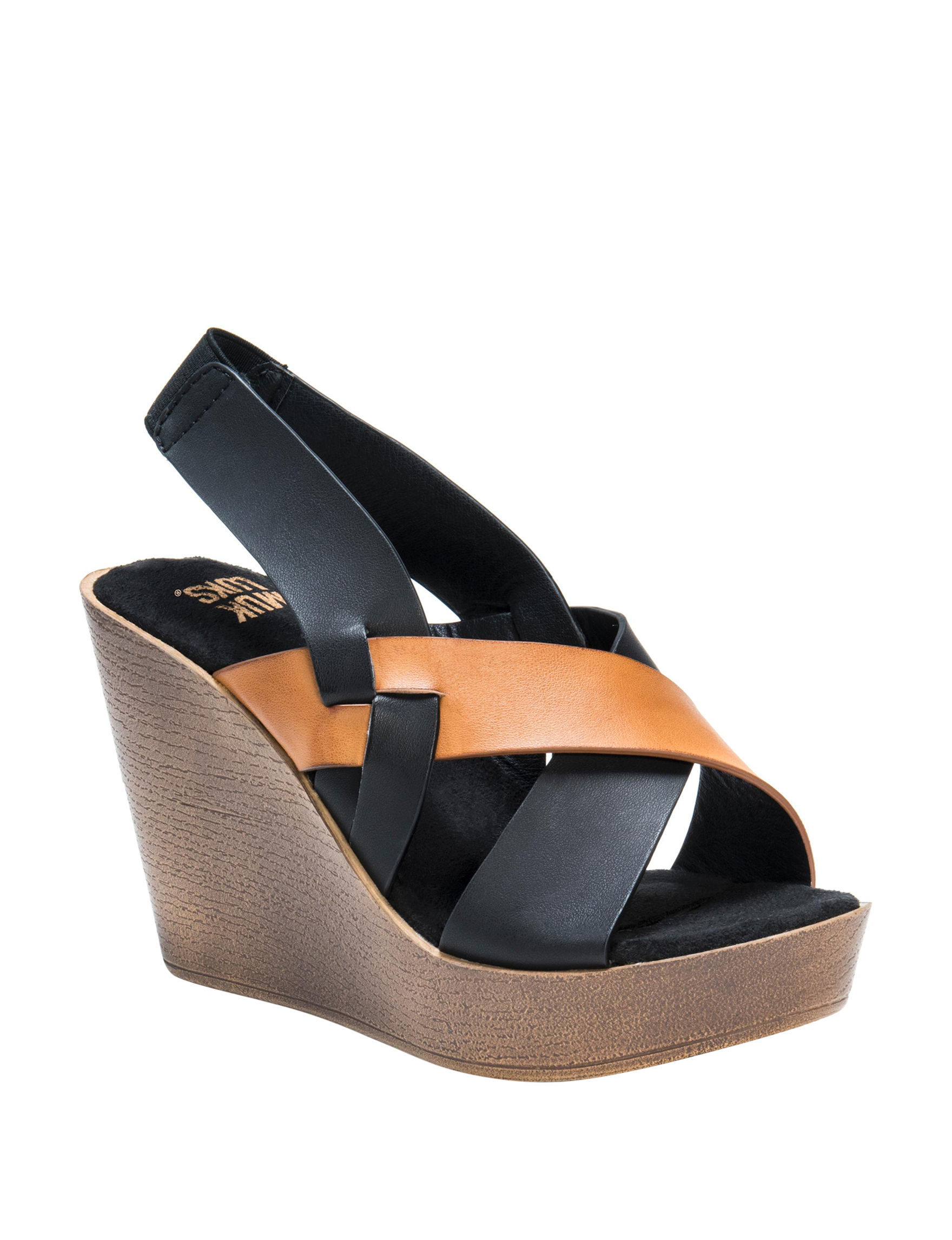 Muk Luks Cognac Wedge Sandals