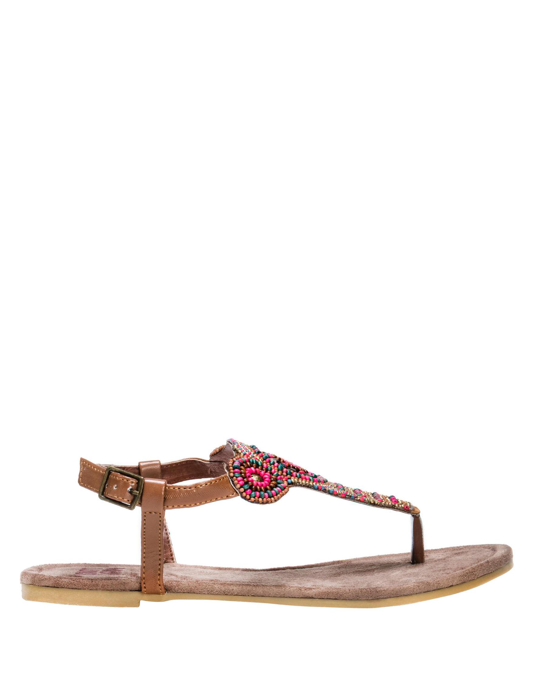 Muk Luks Brown Flat Sandals