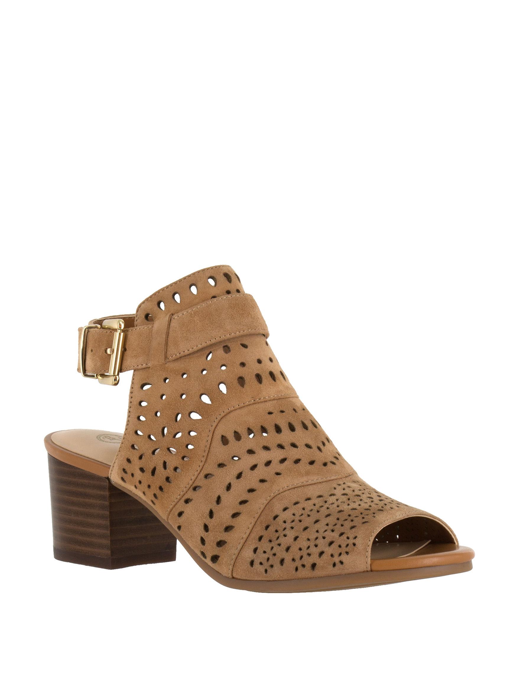 Bella Vita Natural Heeled Sandals Peep Toe