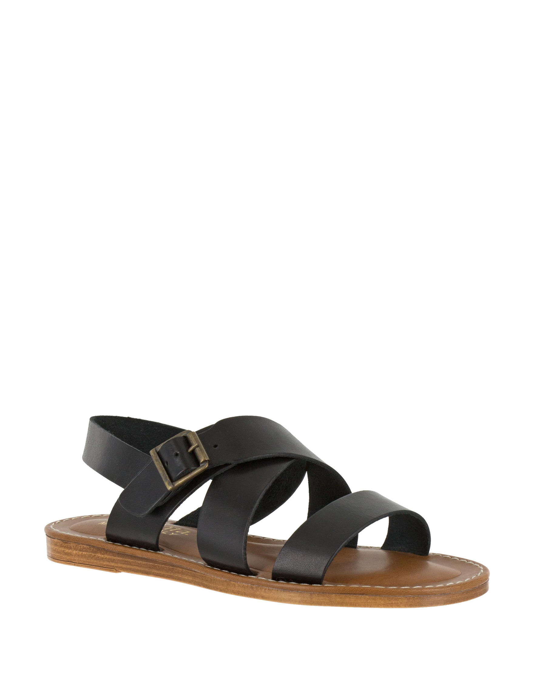Bella Vita Black Flat Sandals