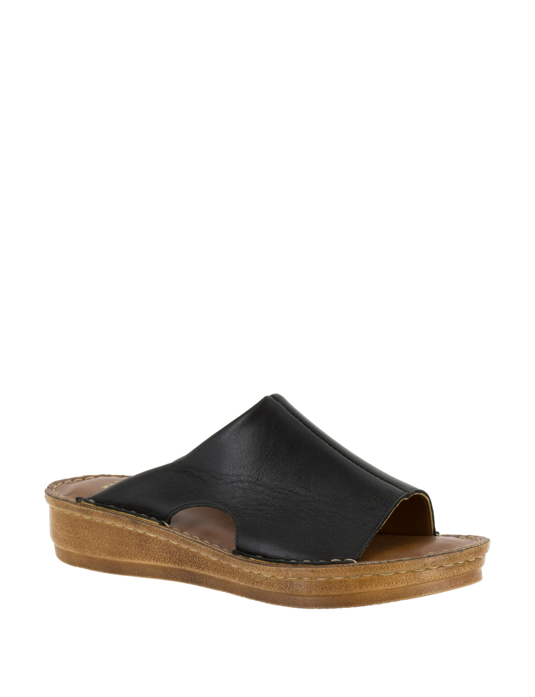 Bella Vita Black Slide Sandals Wedge Sandals