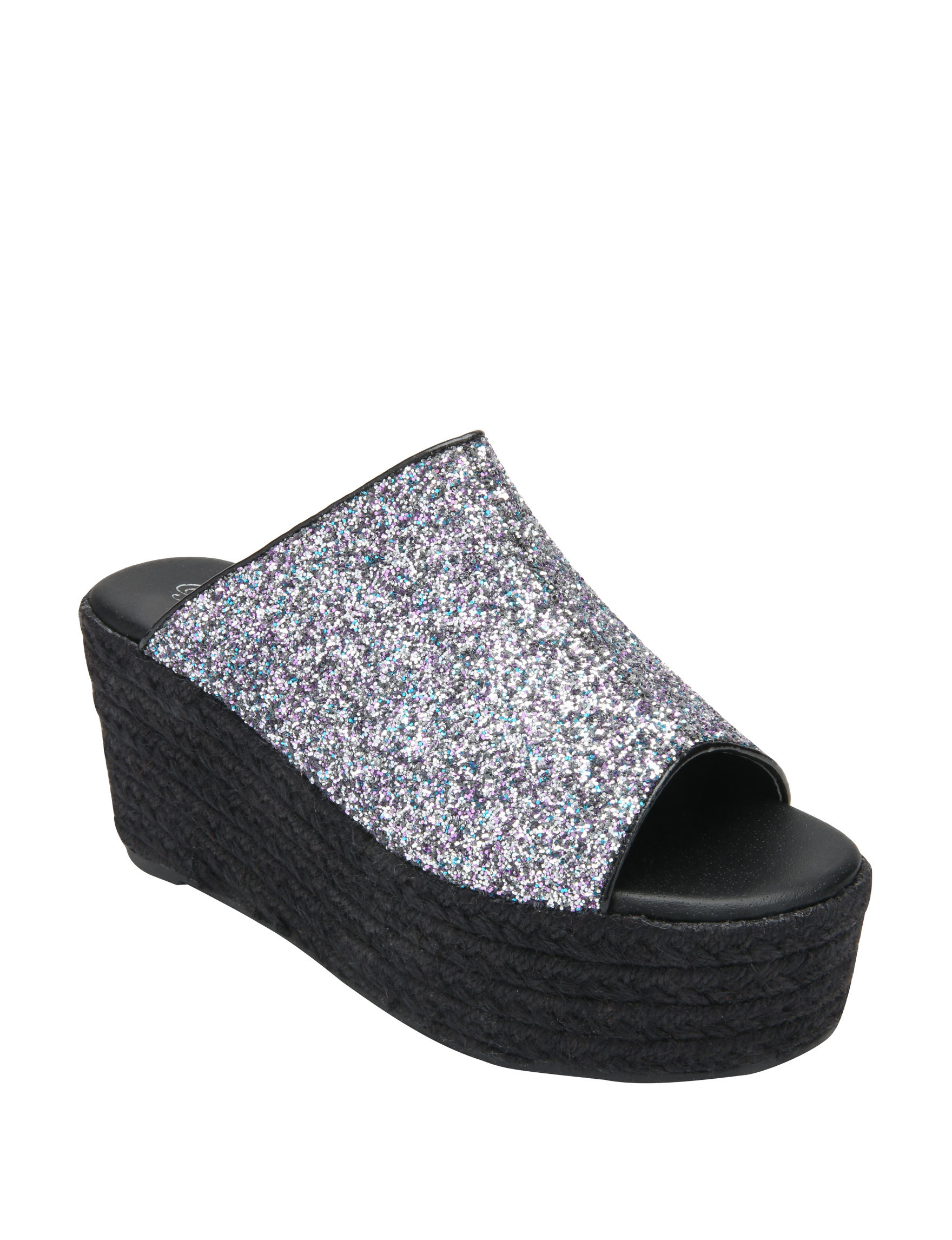 Penny Loves Kenny Black Espadrille Platform Wedge Sandals