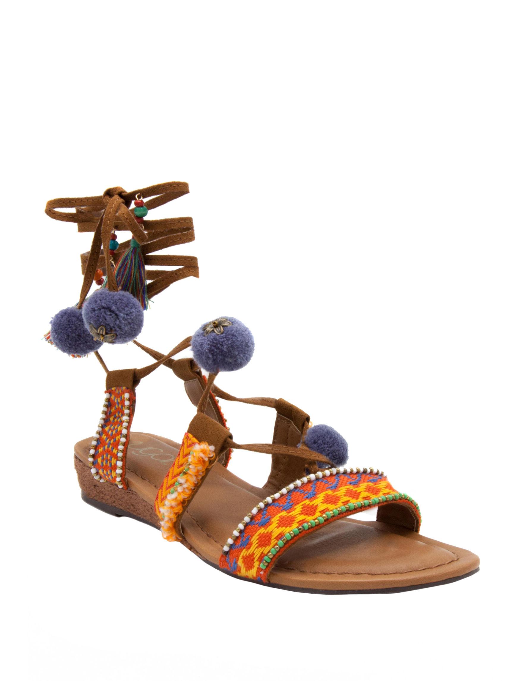 Sugar Cognac Espadrille Flat Sandals