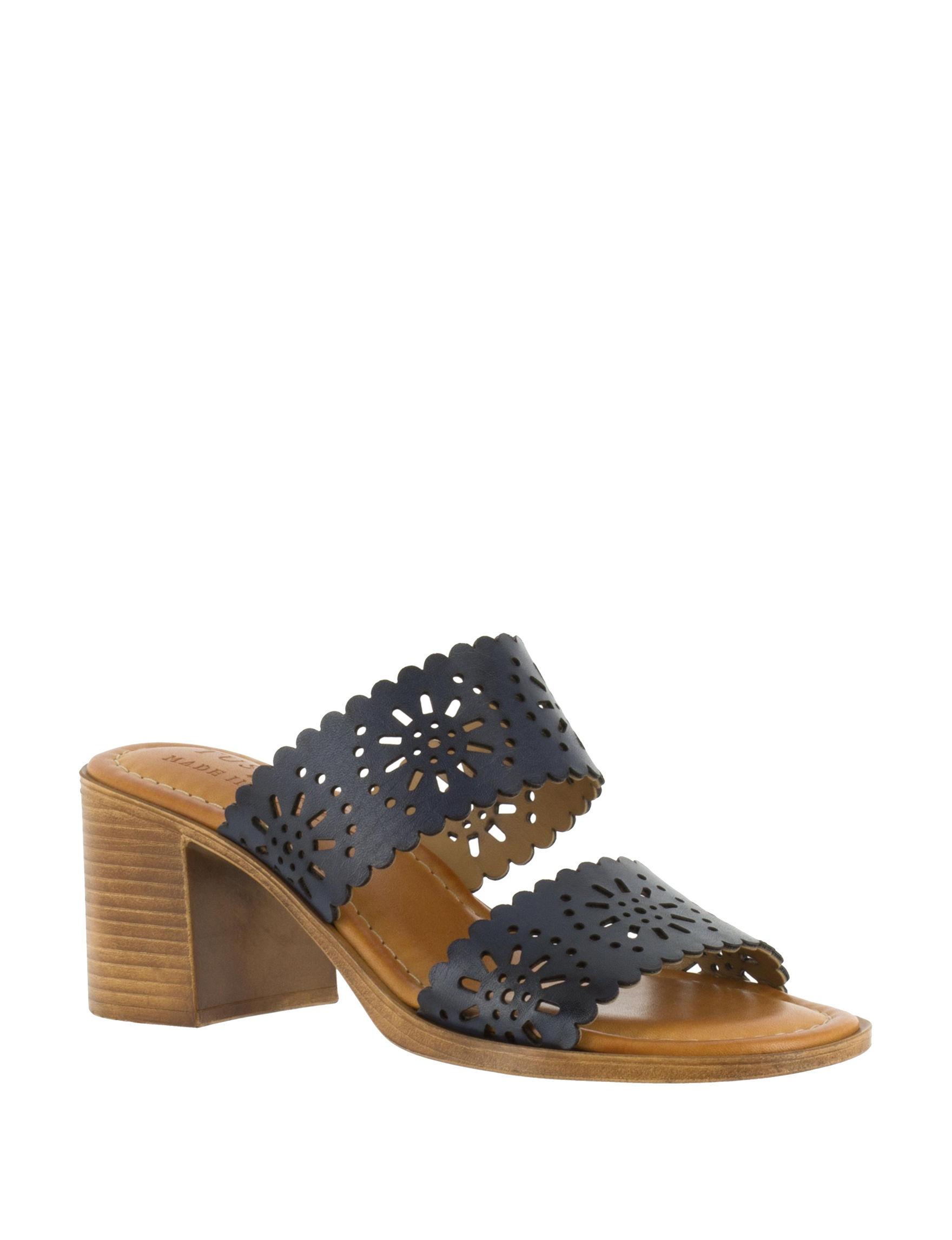 Easy Street Navy Wedge Sandals