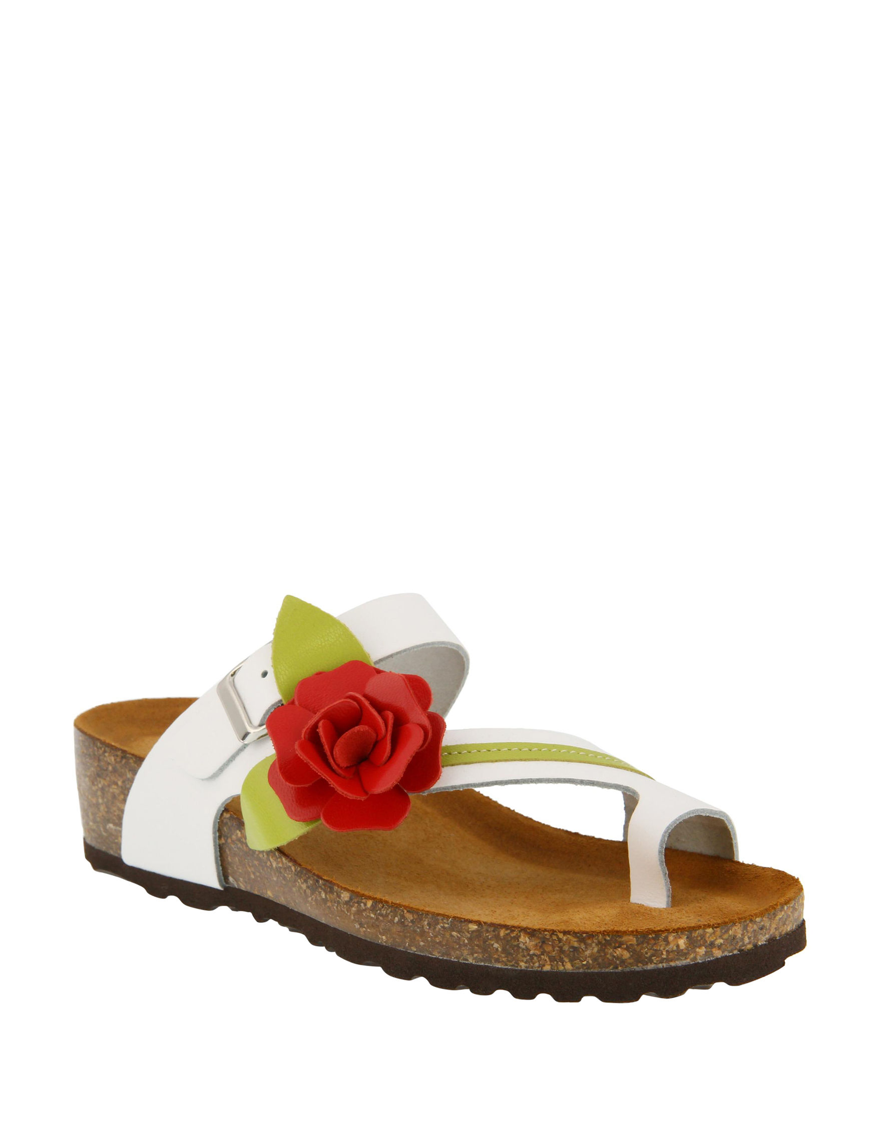 Spring Step White Flat Sandals