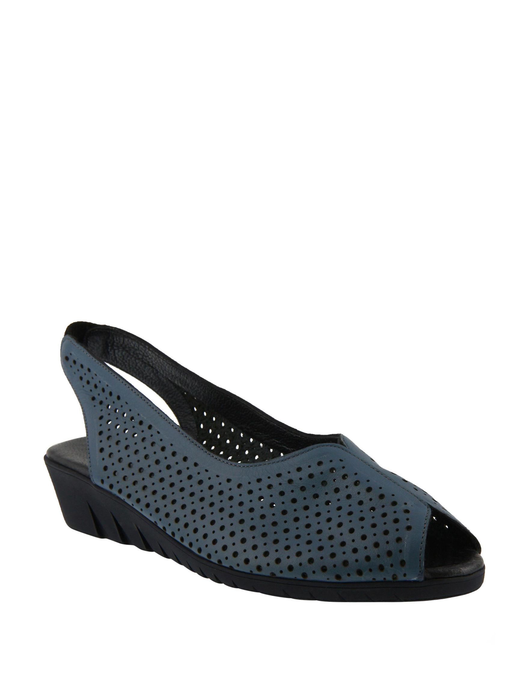 Spring Step Blue Peep Toe Wedge Sandals