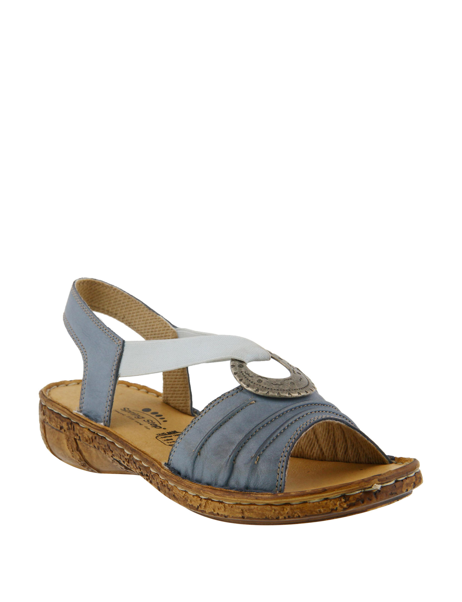 Spring Step Denim Flat Sandals