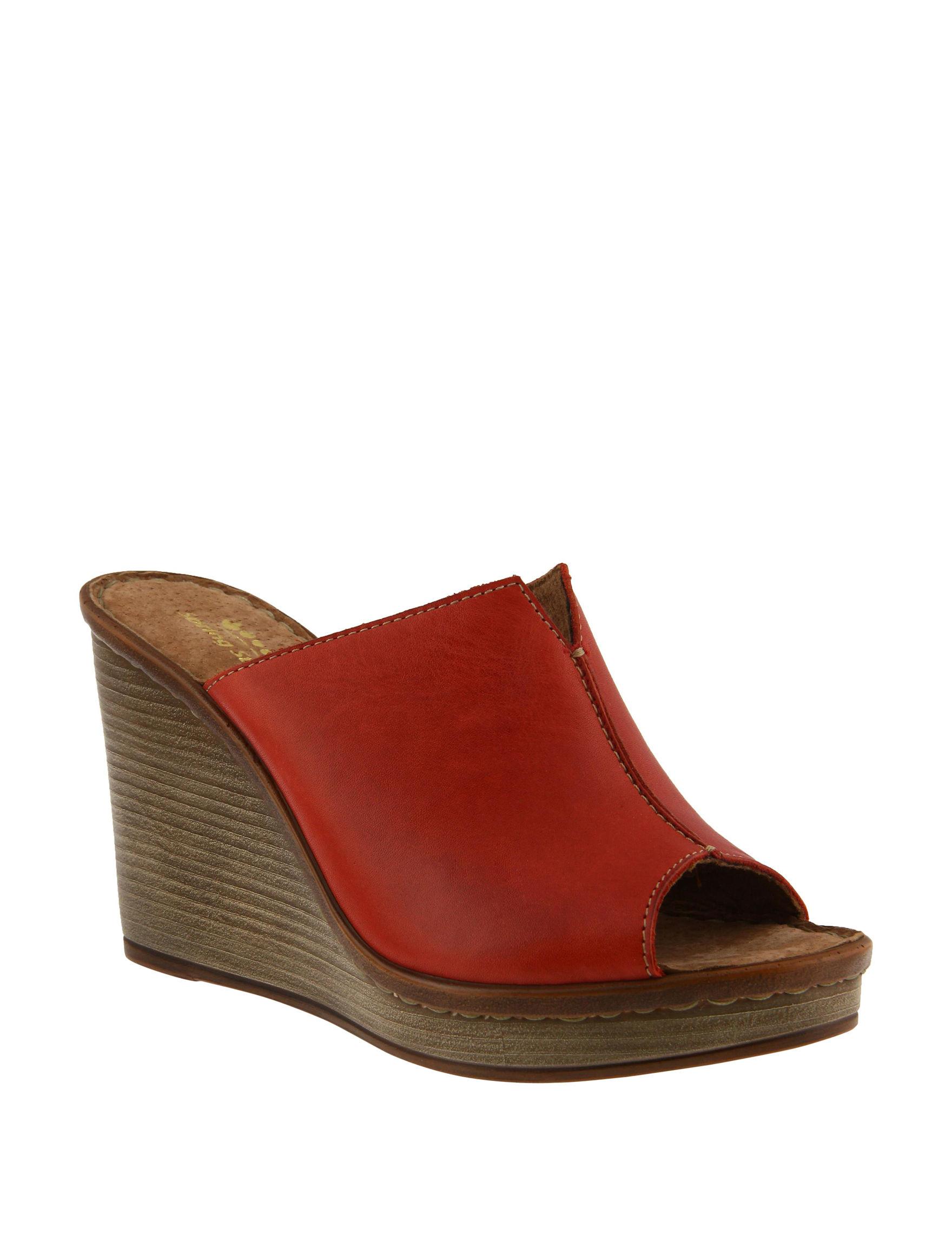 Spring Step Red Platform Wedge Sandals