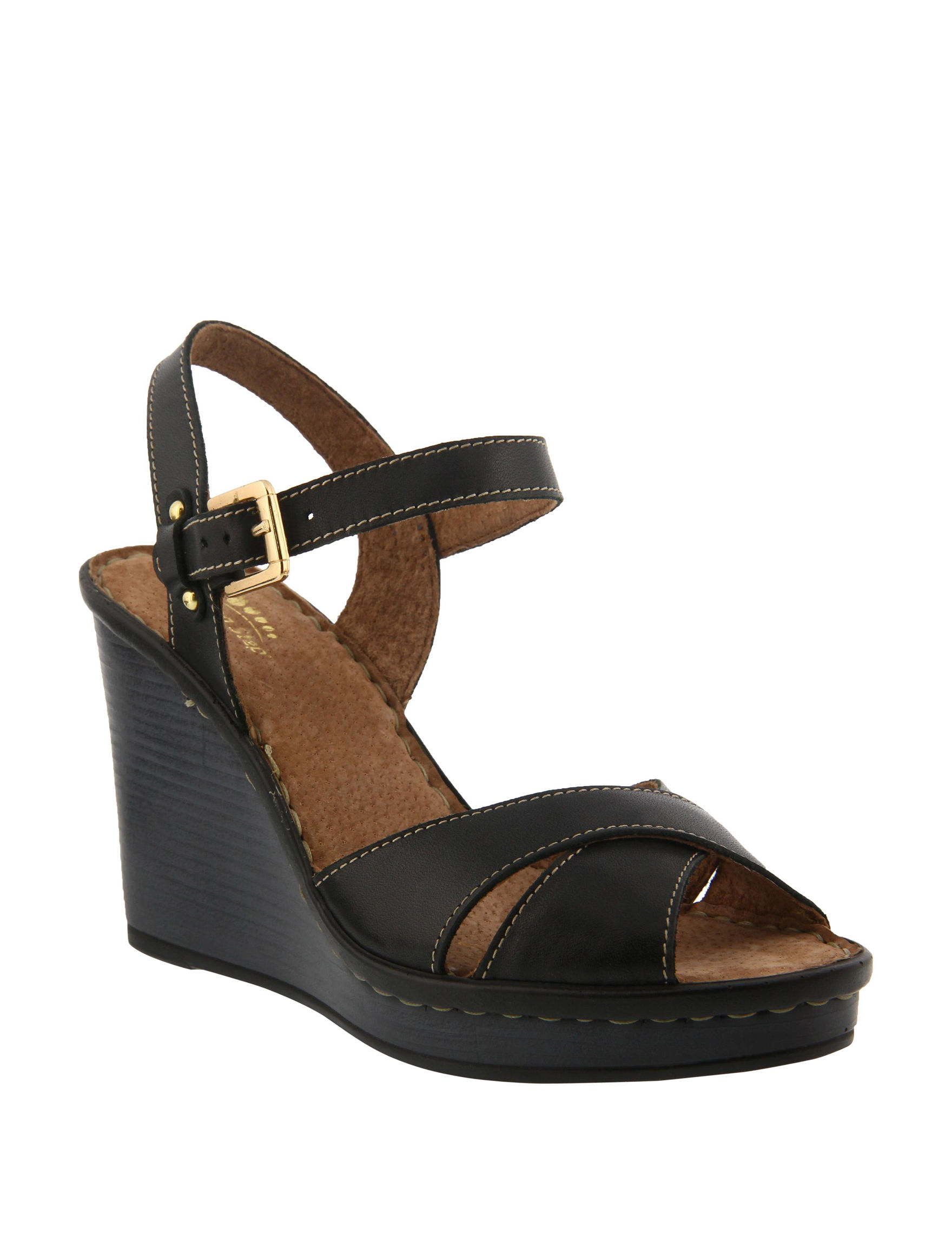 Spring Step Black Platform Wedge Sandals