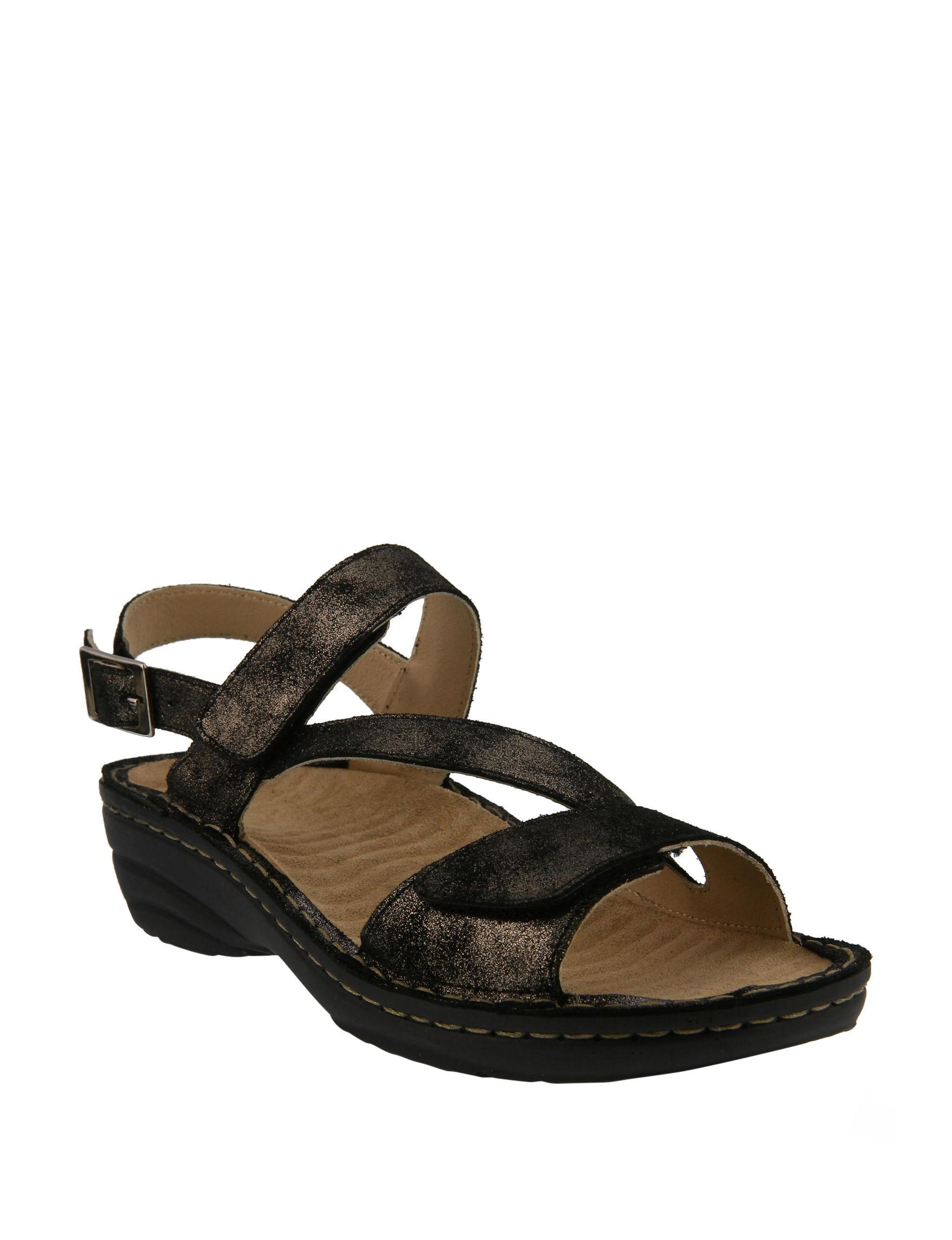 Spring Step Black Wedge Sandals