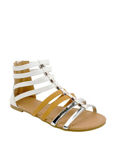 Olivia Miller White Flat Sandals Gladiators