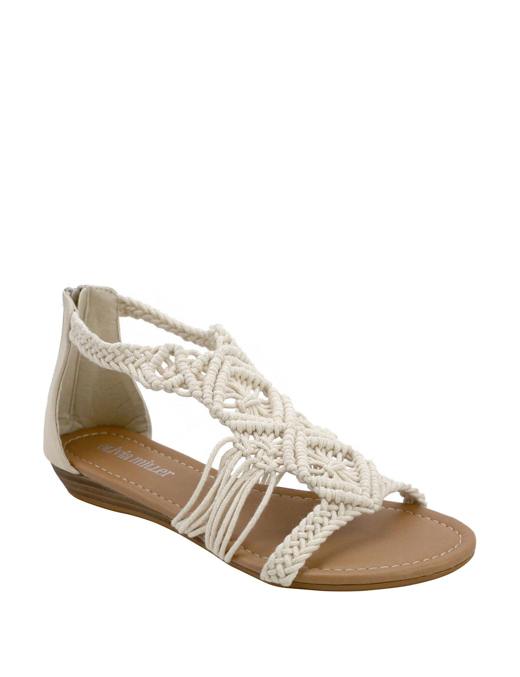 Olivia Miller Natural Flat Sandals