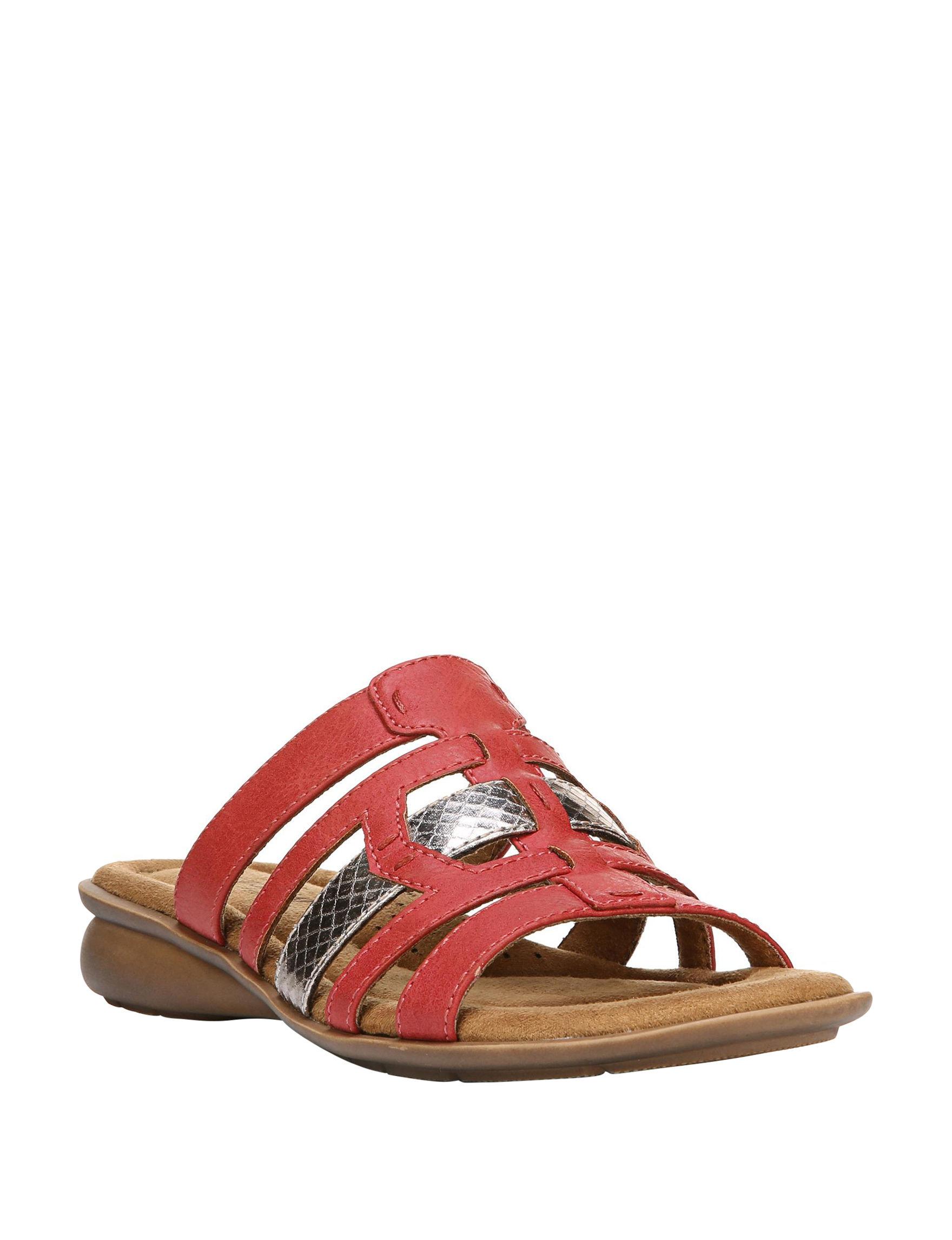 Natural Soul Red Flat Sandals