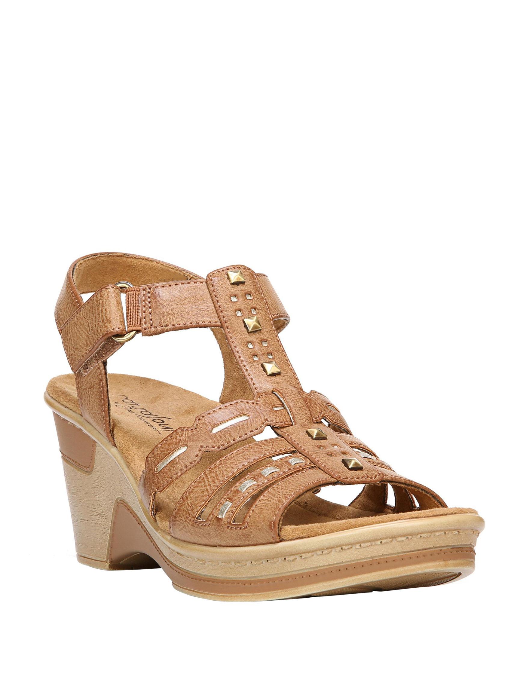 Natural Soul Beige Wedge Sandals