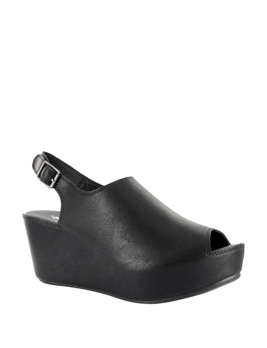 Corkys Black Peep Toe Platform Wedge Sandals