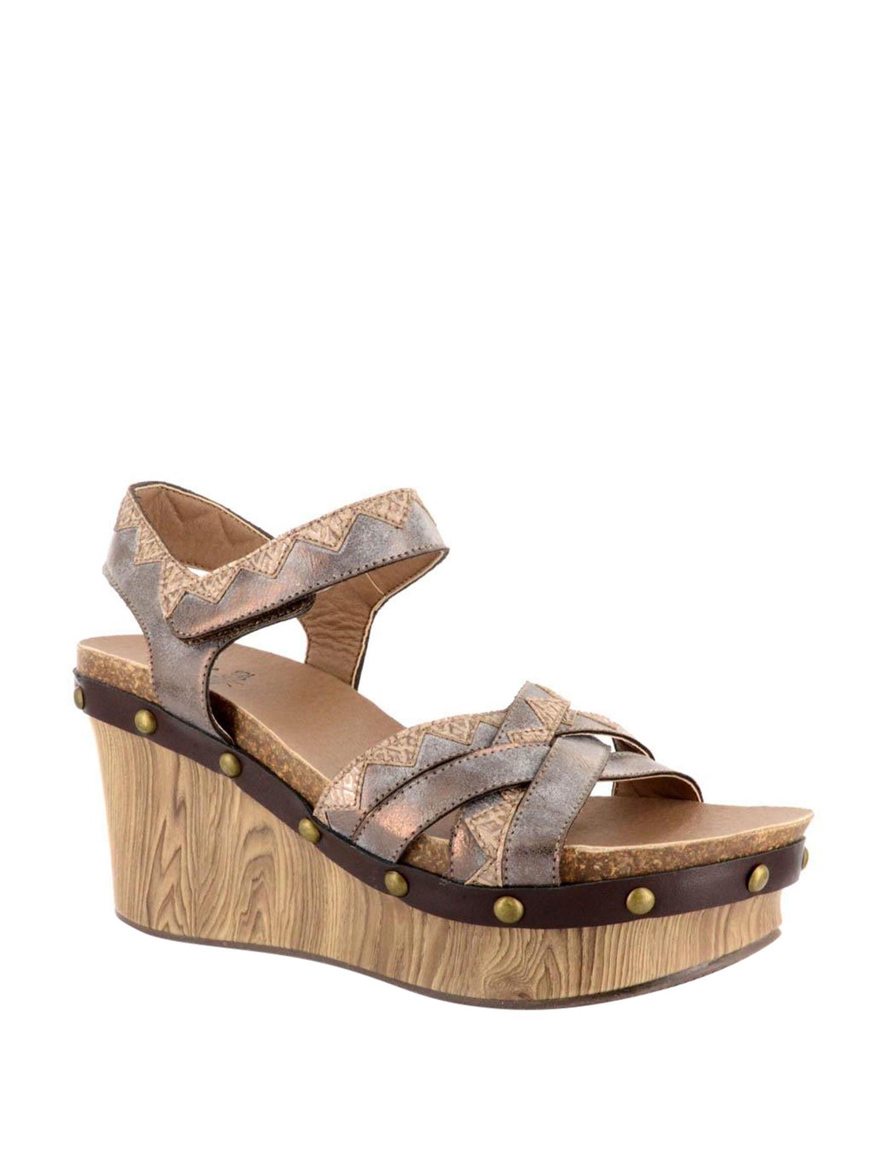 Corkys Bronze Platform Wedge Sandals