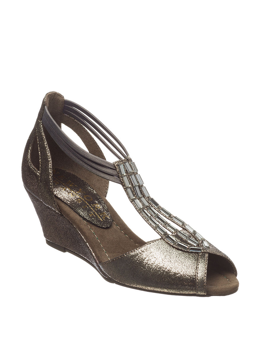 New York Transit Pewter Wedge Sandals