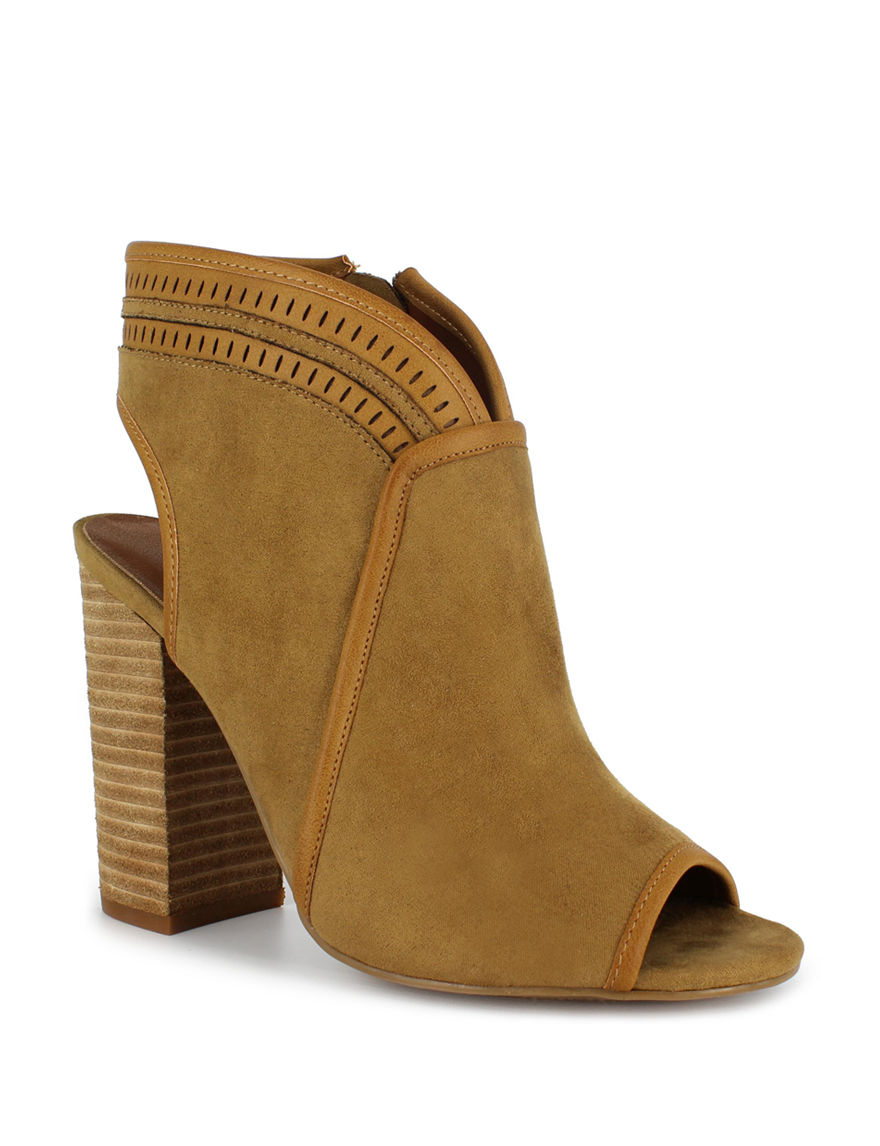 Dolce by Mojo Moxy Camel Ankle Boots & Booties Peep Toe