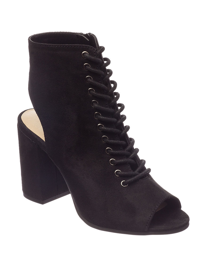 Seven Dials Black Ankle Boots & Booties Peep Toe