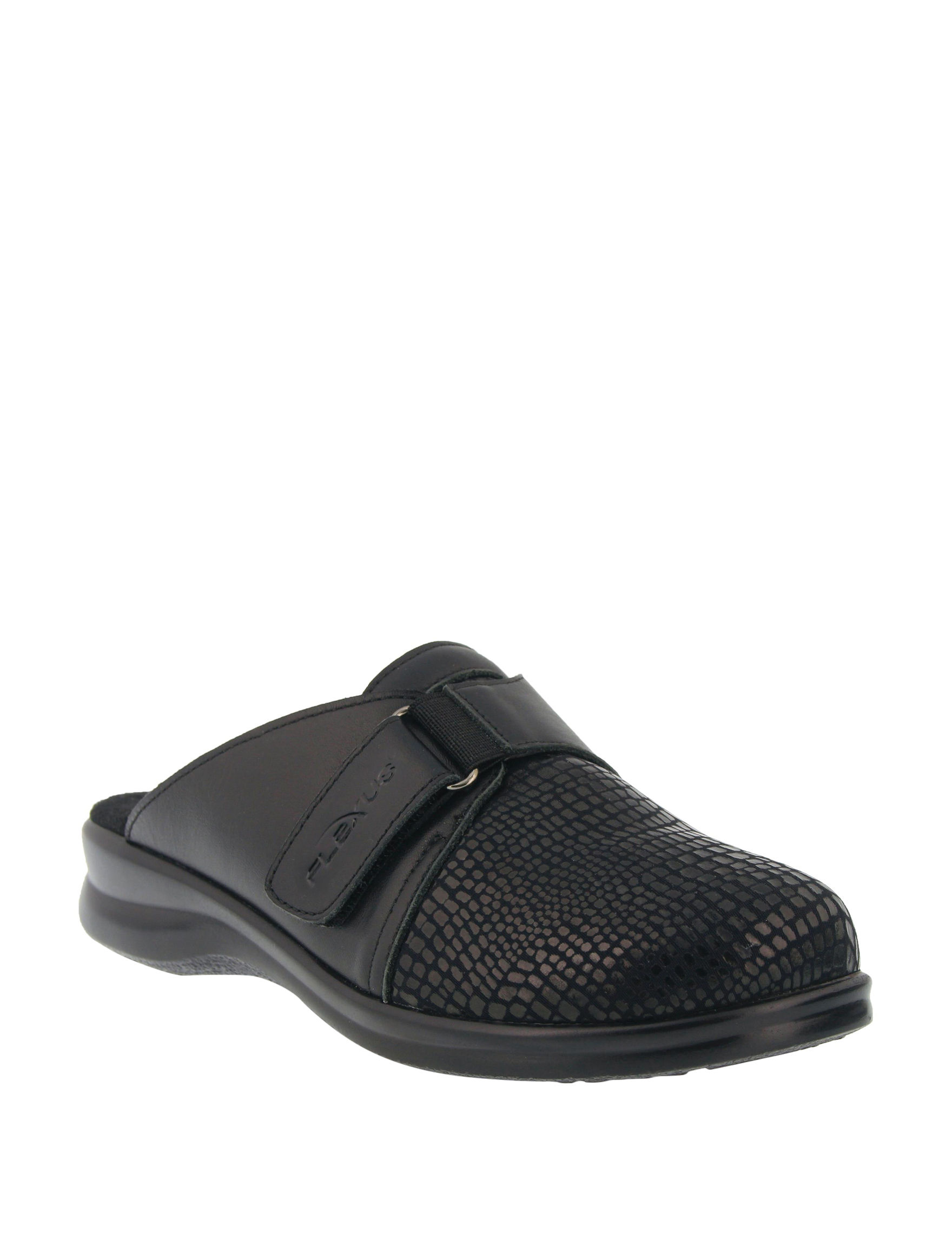 Flexus Black Clogs