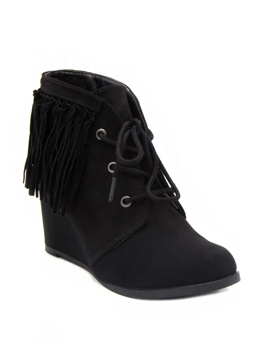 Sugar Black Ankle Boots & Booties Wedge Boots