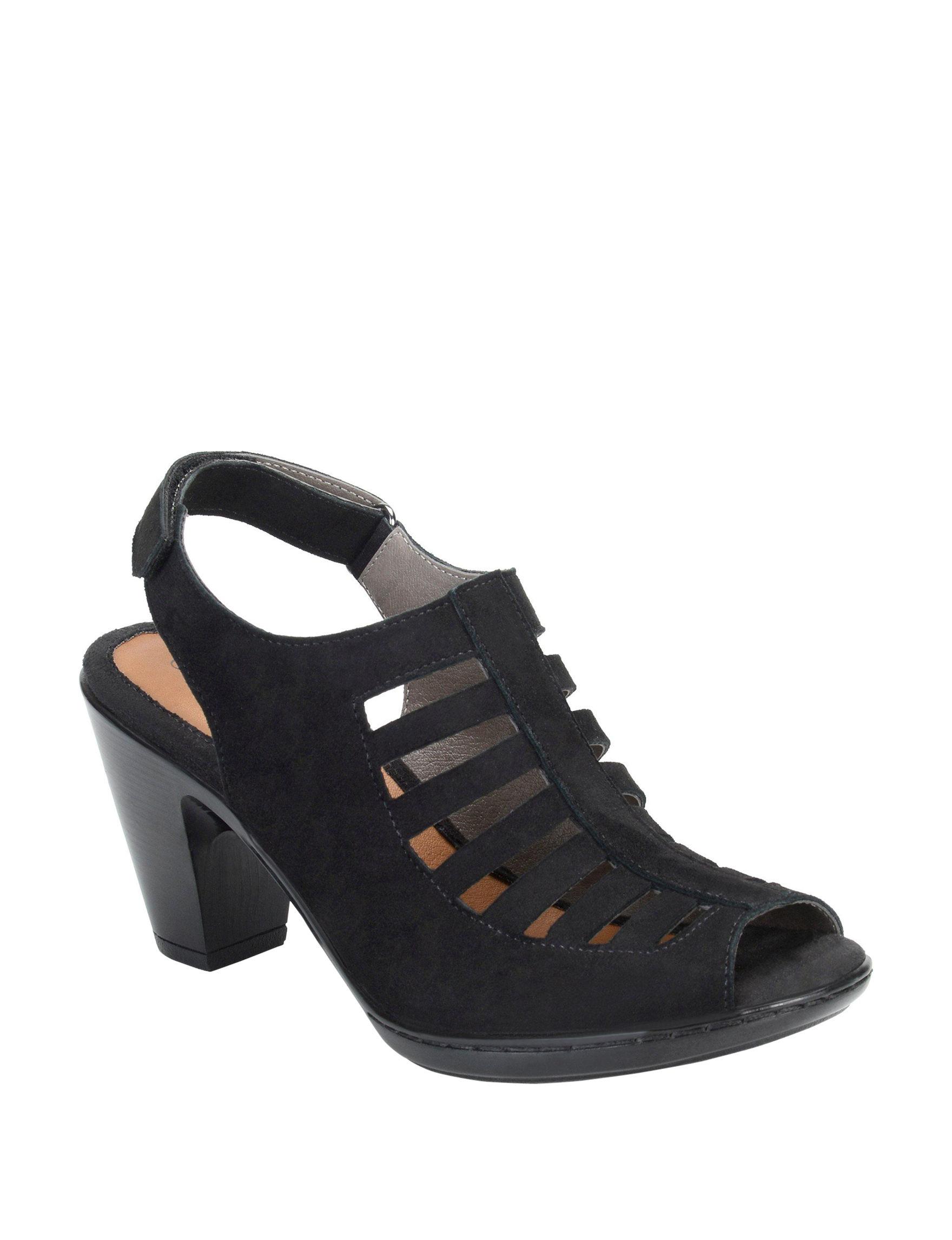 Eurosoft Black Heeled Sandals Peep Toe
