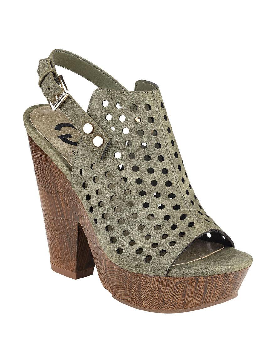 G by Guess Green Heeled Sandals Platform