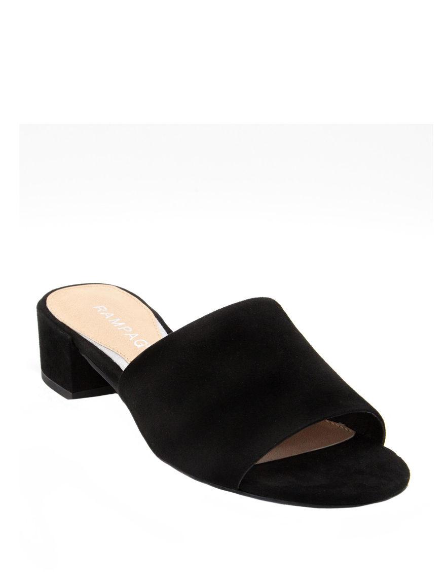 Rampage Black Heeled Sandals Mules