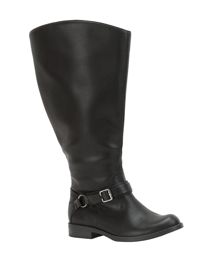 Easy Street Black Riding Boots Wide Calf Comfort