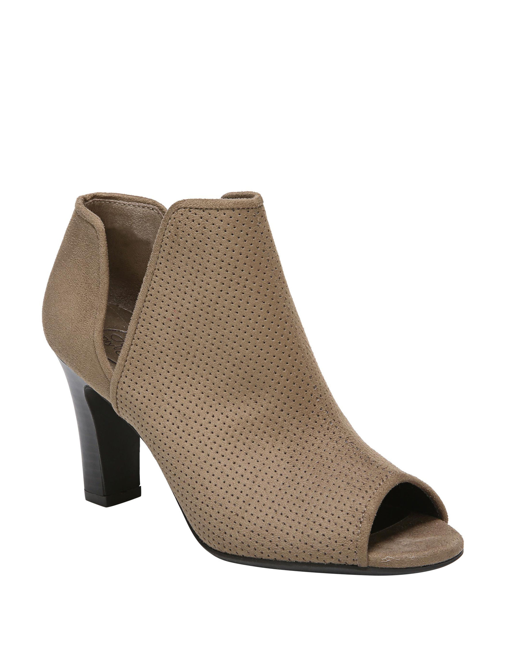Lifestride Taupe Ankle Boots & Booties Peep Toe