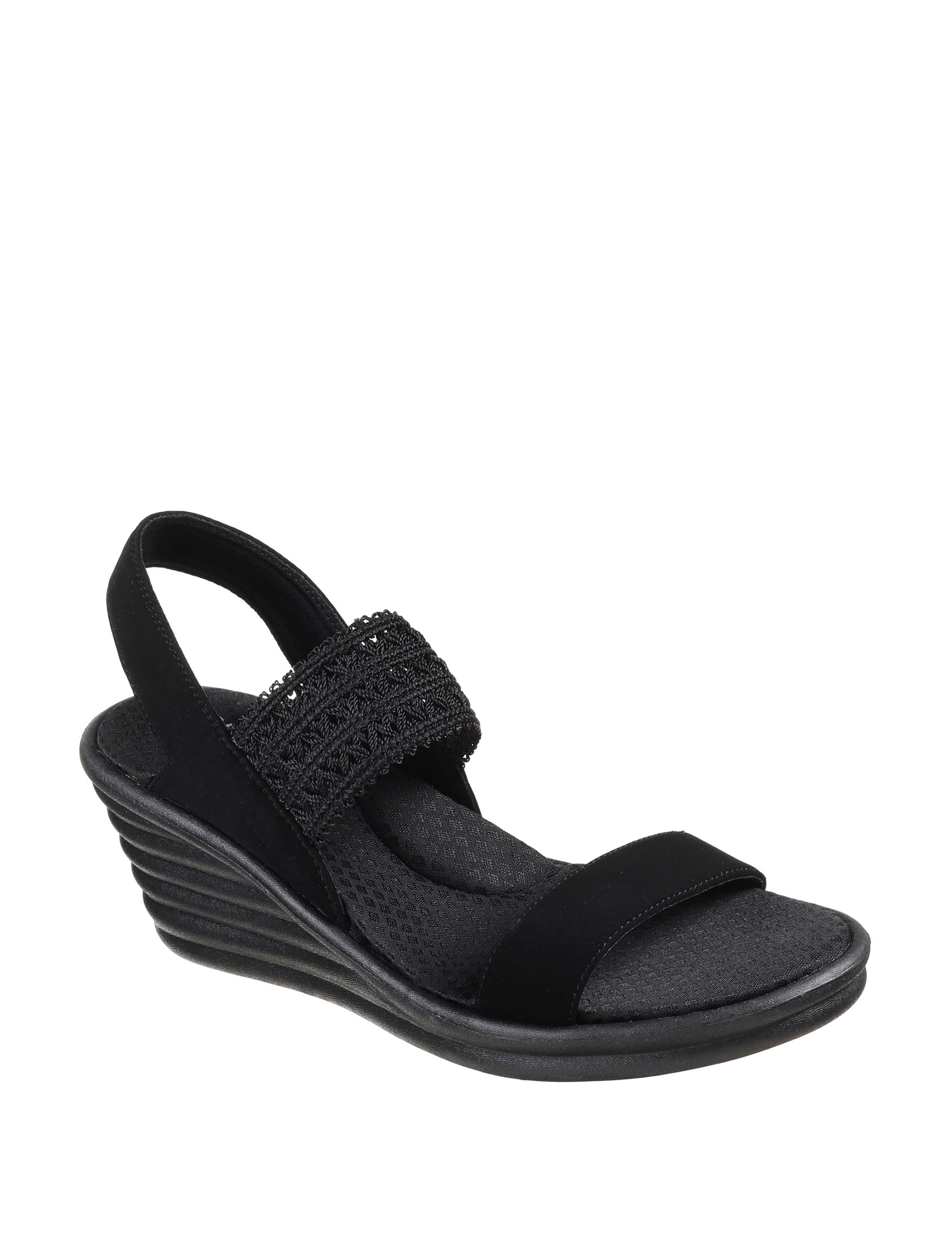 Skechers Black Wedge Sandals