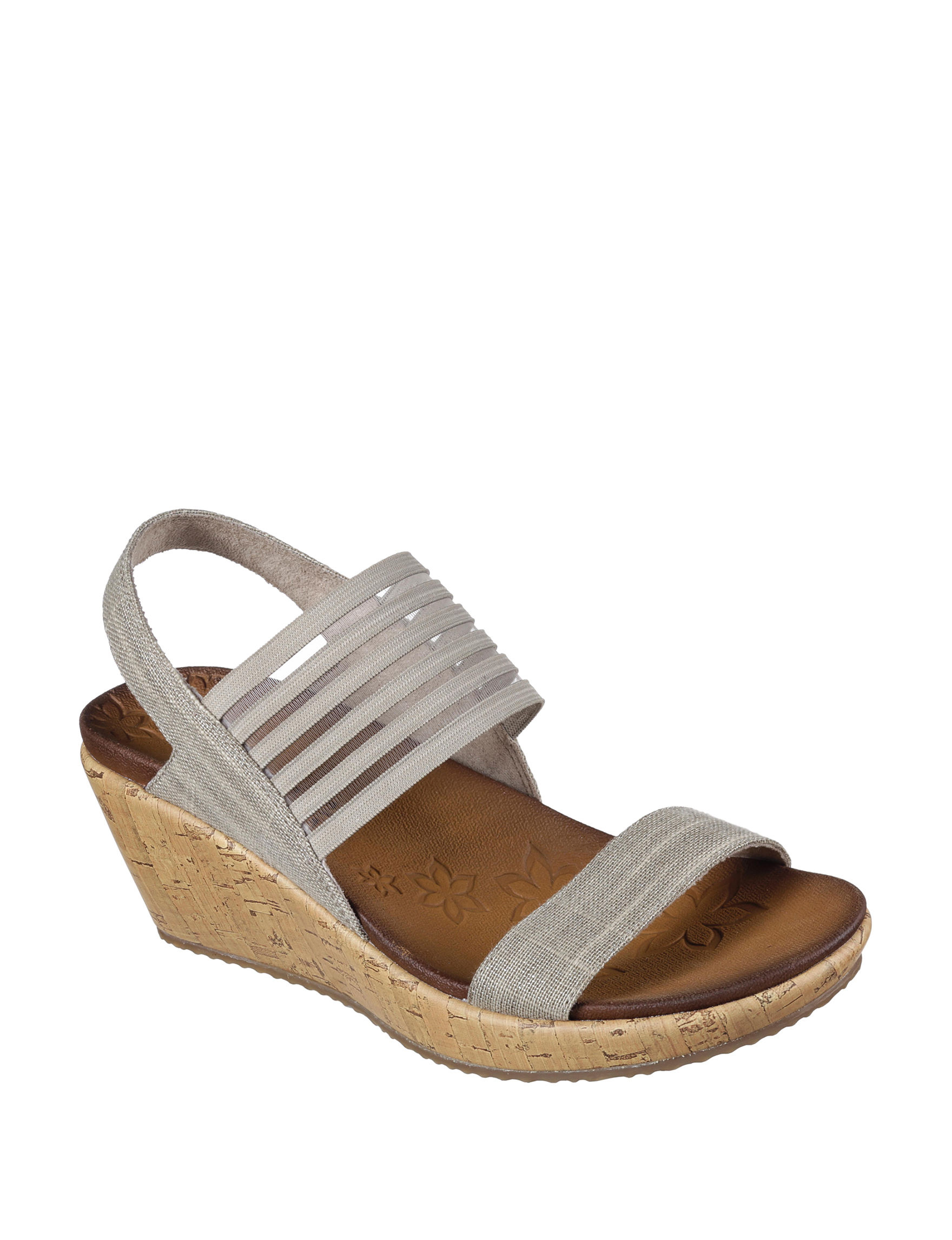Skechers Taupe Wedge Sandals