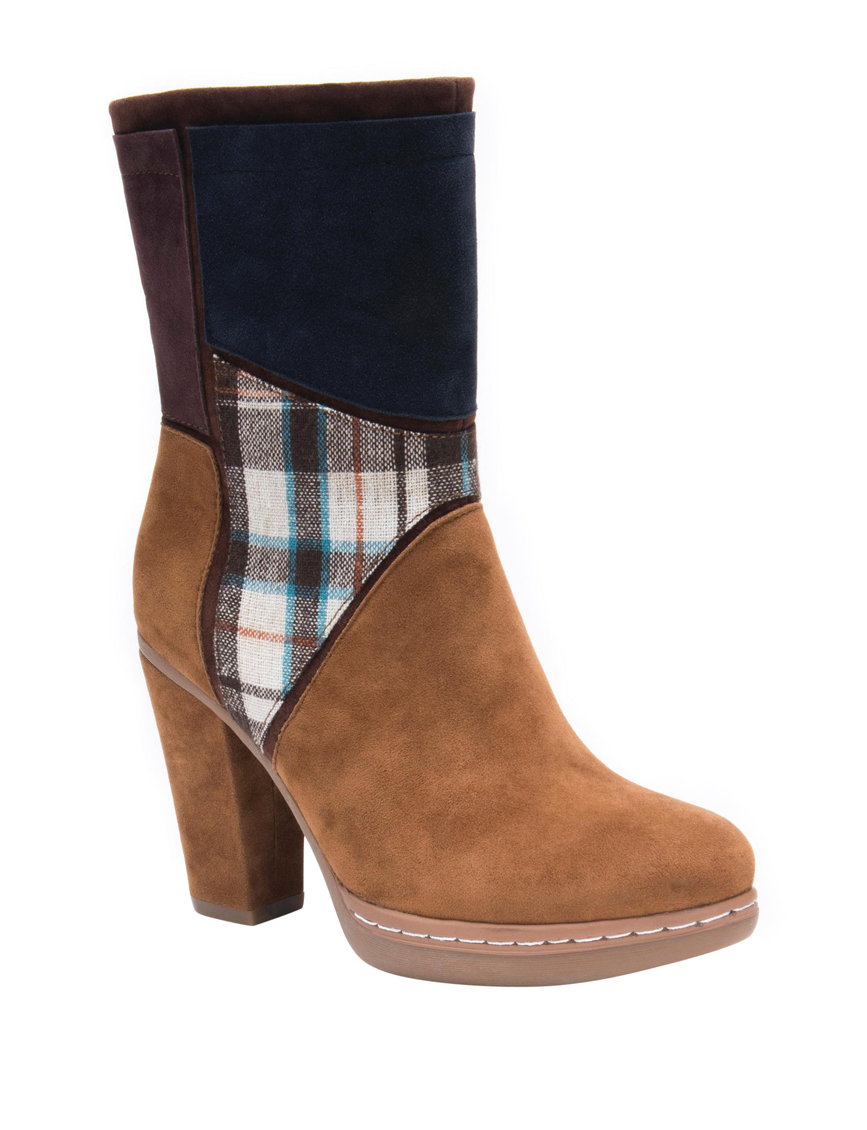 Muk Luks Brown Plaid Winter Boots
