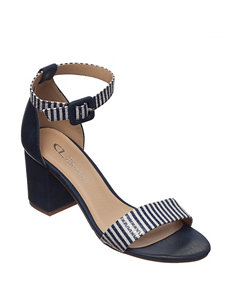 CL by Laundry Navy Stripe Heeled Sandals