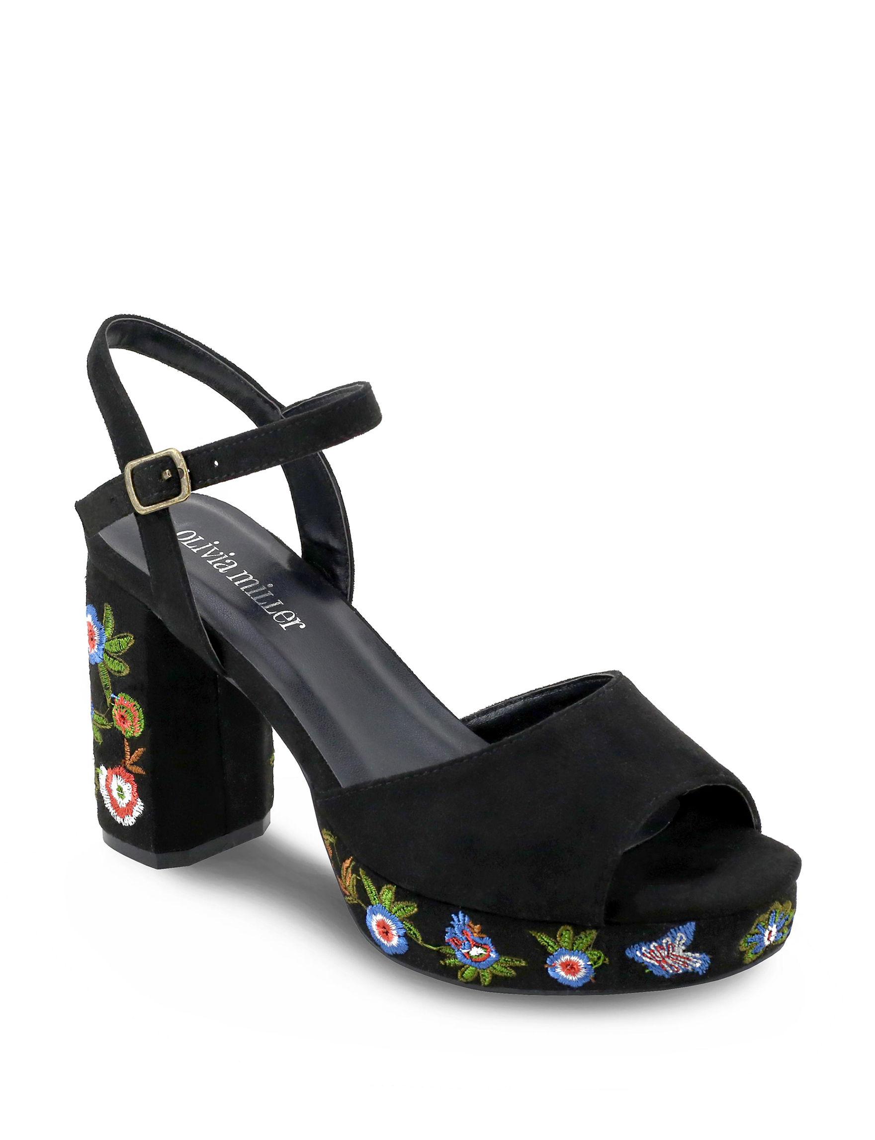 Olivia Miller Black Heeled Sandals Platform