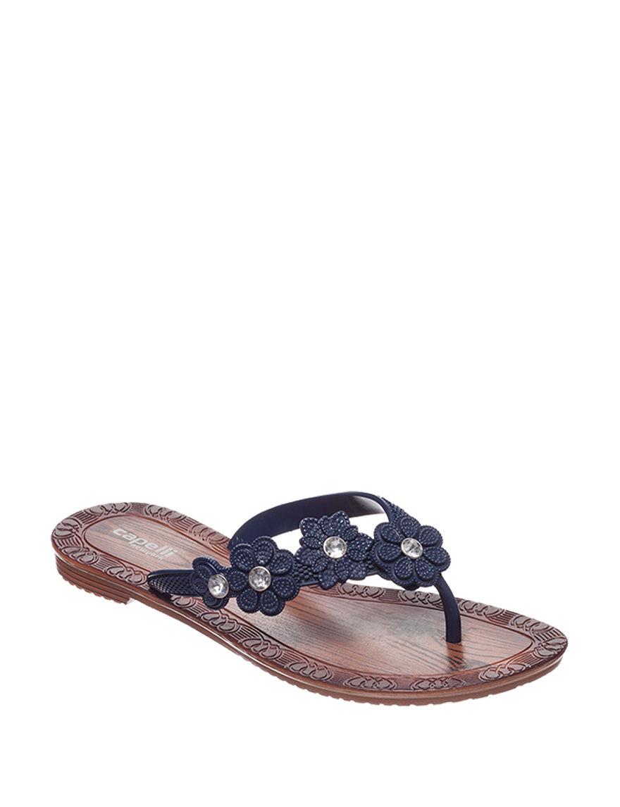 Capelli Navy Flat Sandals Flip Flops