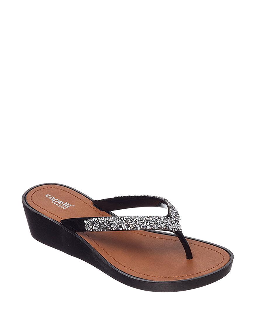Capelli Grey Flip Flops Wedge Sandals