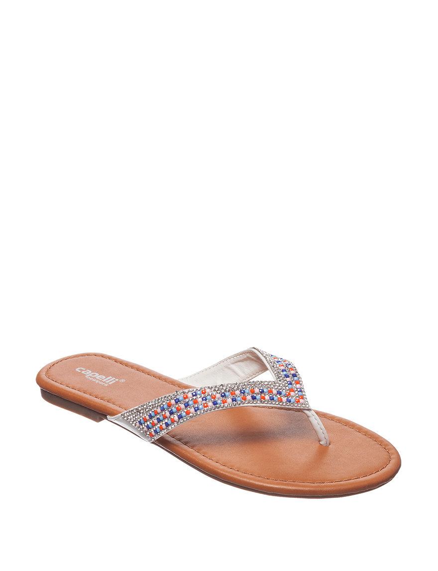 Capelli White Multi Flat Sandals Flip Flops