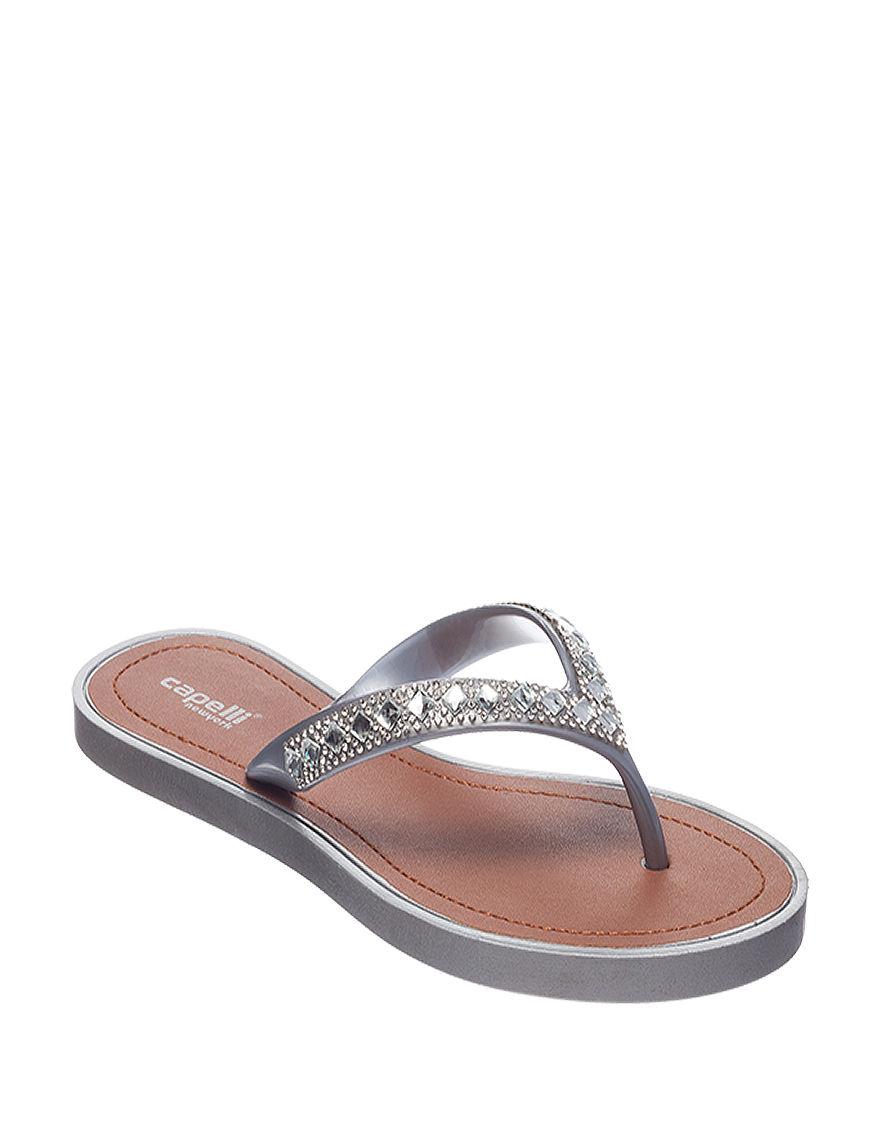 Capelli Grey Flat Sandals Flip Flops