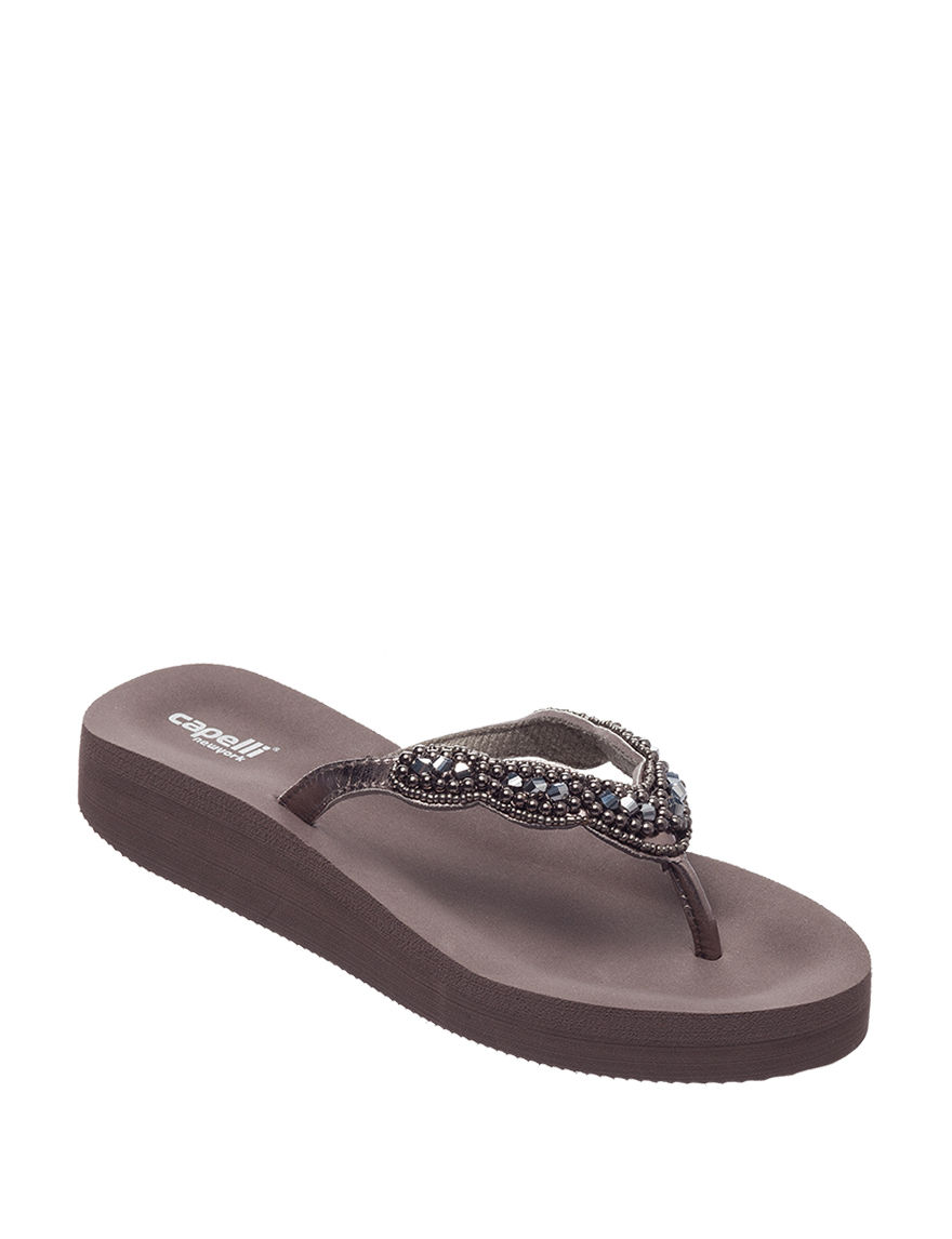 Capelli Pewter Flip Flops Wedge Sandals
