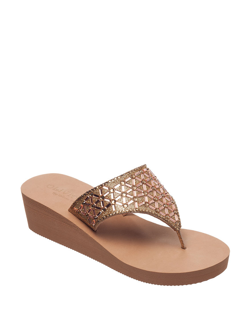 Olivia Miller Rose Gold Flip Flops Wedge Sandals