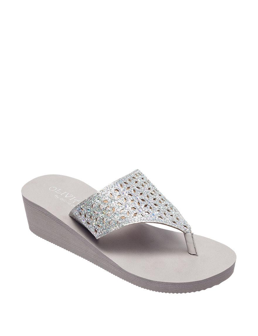 Olivia Miller Grey Flip Flops Wedge Sandals