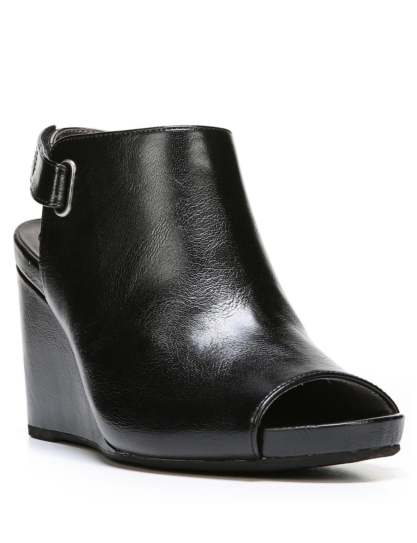 Lifestride Black Peep Toe Wedge Sandals